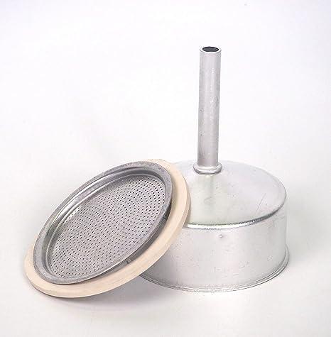 Sanfor Repuesto Cafetera Italiana 9 Tazas | Recambio Embudo + Filtro + Junta | Aluminio Caucho | Diámetro 74 mm: Amazon.es: Hogar