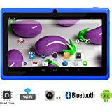"Tagital 7"" Quad Core Android 4.4 KitKat Tablet PC, Dual Camera, Google Play Store, 2016 Newest Model (Blue)"