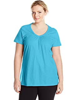 854eae34179 Just My Size Women s Plus-Size Cool DRI Short Sleeve V-Neck Tee at ...