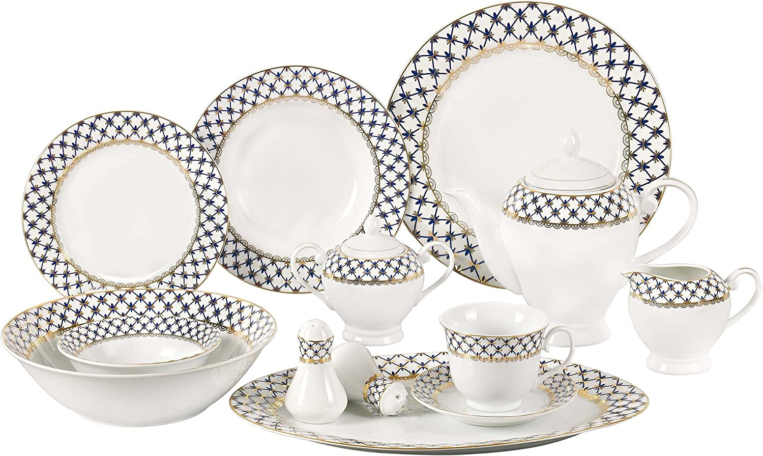 Lorren Home Trends 57-Piece Porcelain Dinnerware Set with Cobalt Blue Lattice Border, Service for 8