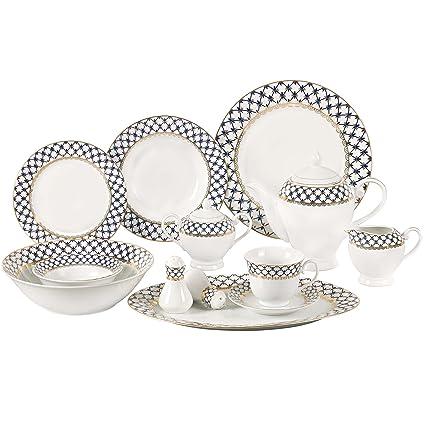 Lorren Home Trends 57-Piece Porcelain Dinnerware Set with Cobalt Blue Lattice Border Service  sc 1 st  Amazon.com & Amazon.com | Lorren Home Trends 57-Piece Porcelain Dinnerware Set ...