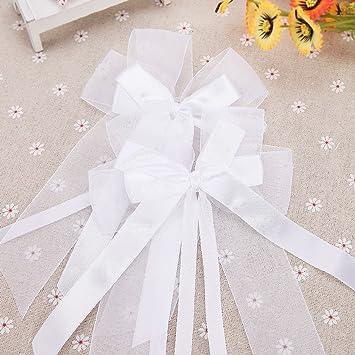 10x noeud papillon ruban satin tulle dcoration pour voiture de mariage 057 - Noeud Pour Voiture Mariage Tulle