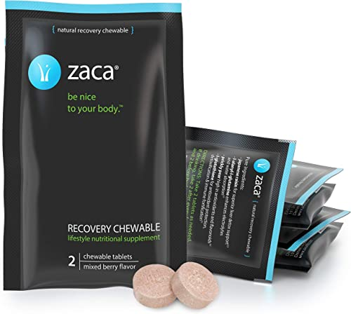 Zaca Recovery Chewable Supplement Remedy for Hangovers, Exercise, Travel Altitude Vegan Gluten Free Mixed Berry, 6 Packs 12 Tablets