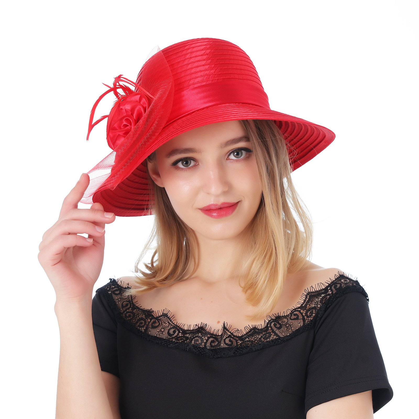 Dantiya Women's Organza Wide Brim Floral Ribbon Kentucky Derby Church Dress Sun Hat (Free, 2 Style-Red)