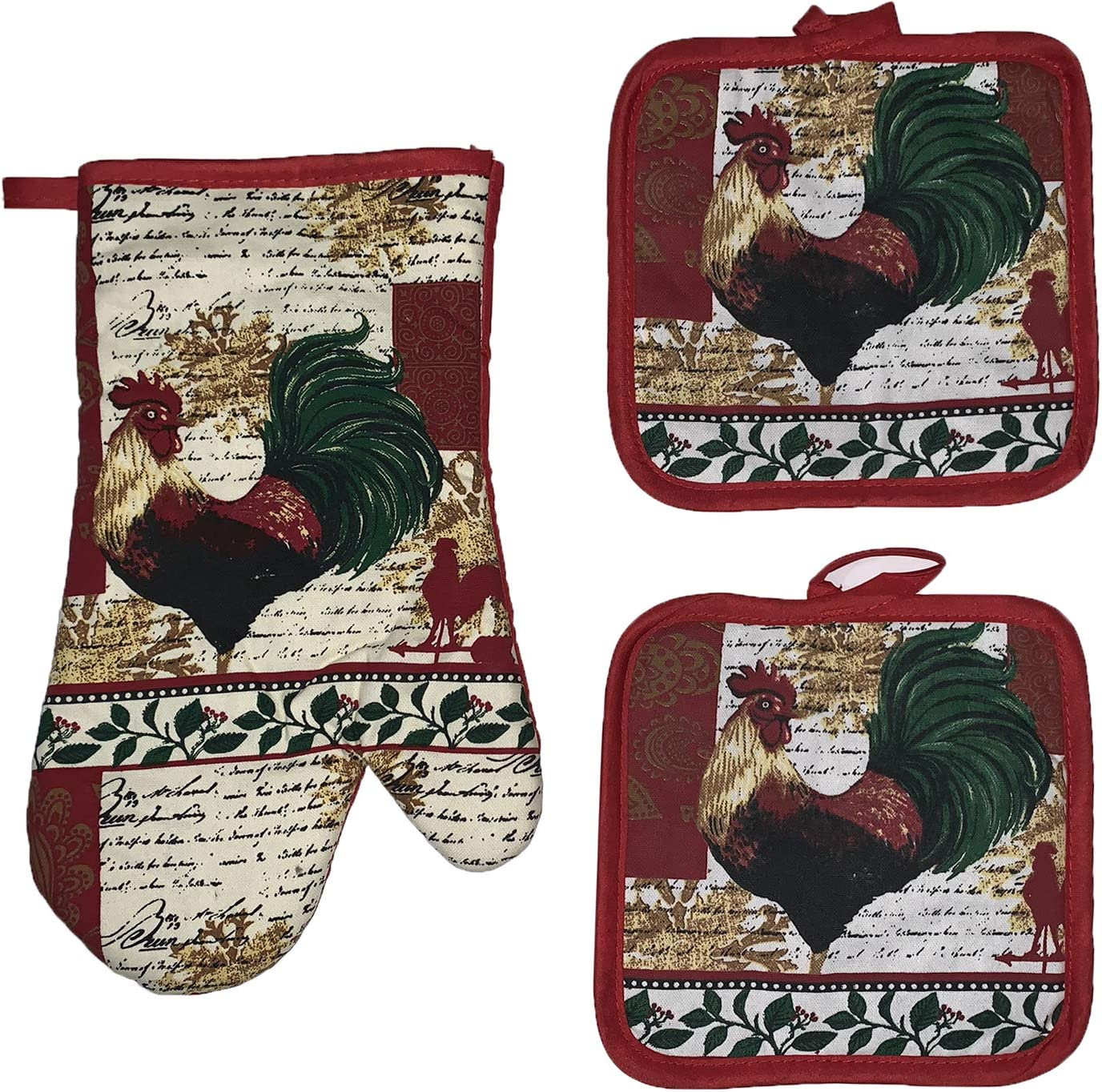 Set of 3, Printed Design Farming Collection Ultra Absorbent Kitchen Set, Includes: 2 Pot Holders and 1 Oven Mitt. (Color Rooster)