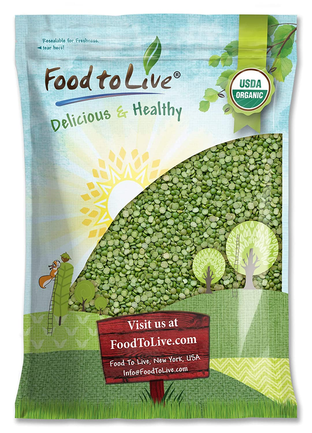 Organic Green Split Peas, 10 Pounds - Non-GMO, Kosher, Raw, Dried, Great for Pea Soup, Rich in Protein and Fiber, Bulk, Product of Canada