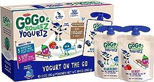 GoGo squeeZ yogurtZ, Variety Pack (Blueberry/Berry), 3 Ounce (60 Pouches), Low Fat Yogurt, Gluten Free, Pantry-friendly, Recloseable, BPA Free Pouches