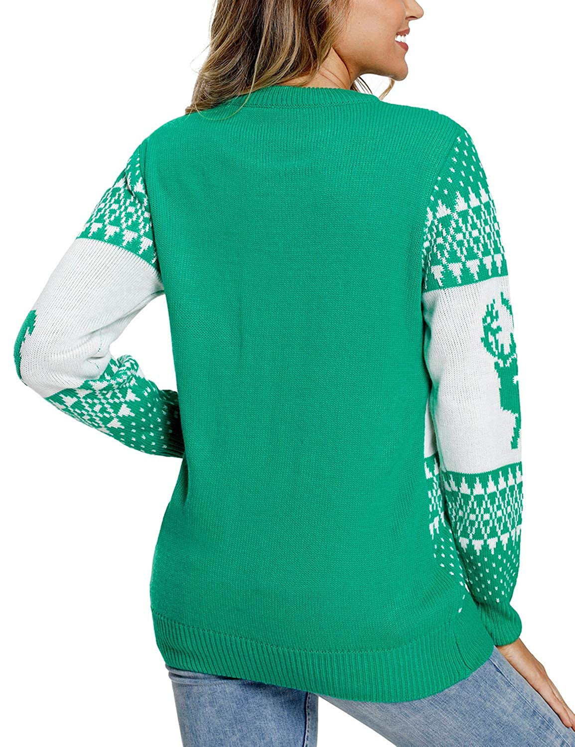 Lookbook Store Women Ugly Christmas Tree Reindeer Holiday Knit Sweater Pullover LBS-TO-27827