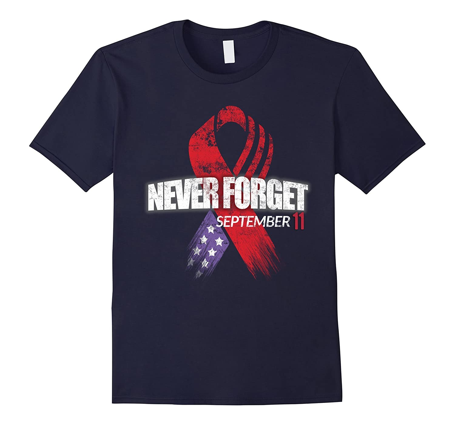 911 memorial shirt ribbon usa flag never forget t shirt-CL