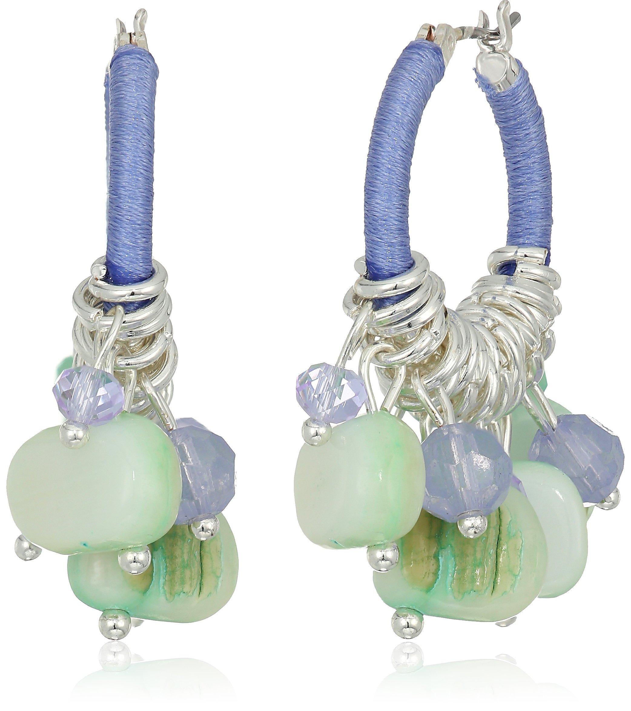 Napier Multi Tone Beaded Hoop Earrings