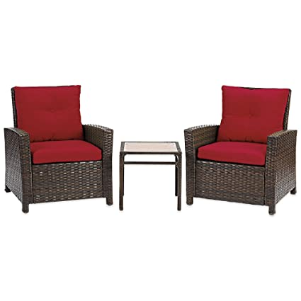 Sturdy Barrington 3 Piece Wicker Club Chair Set With 2 Cushioned Chairs And  Accent Table