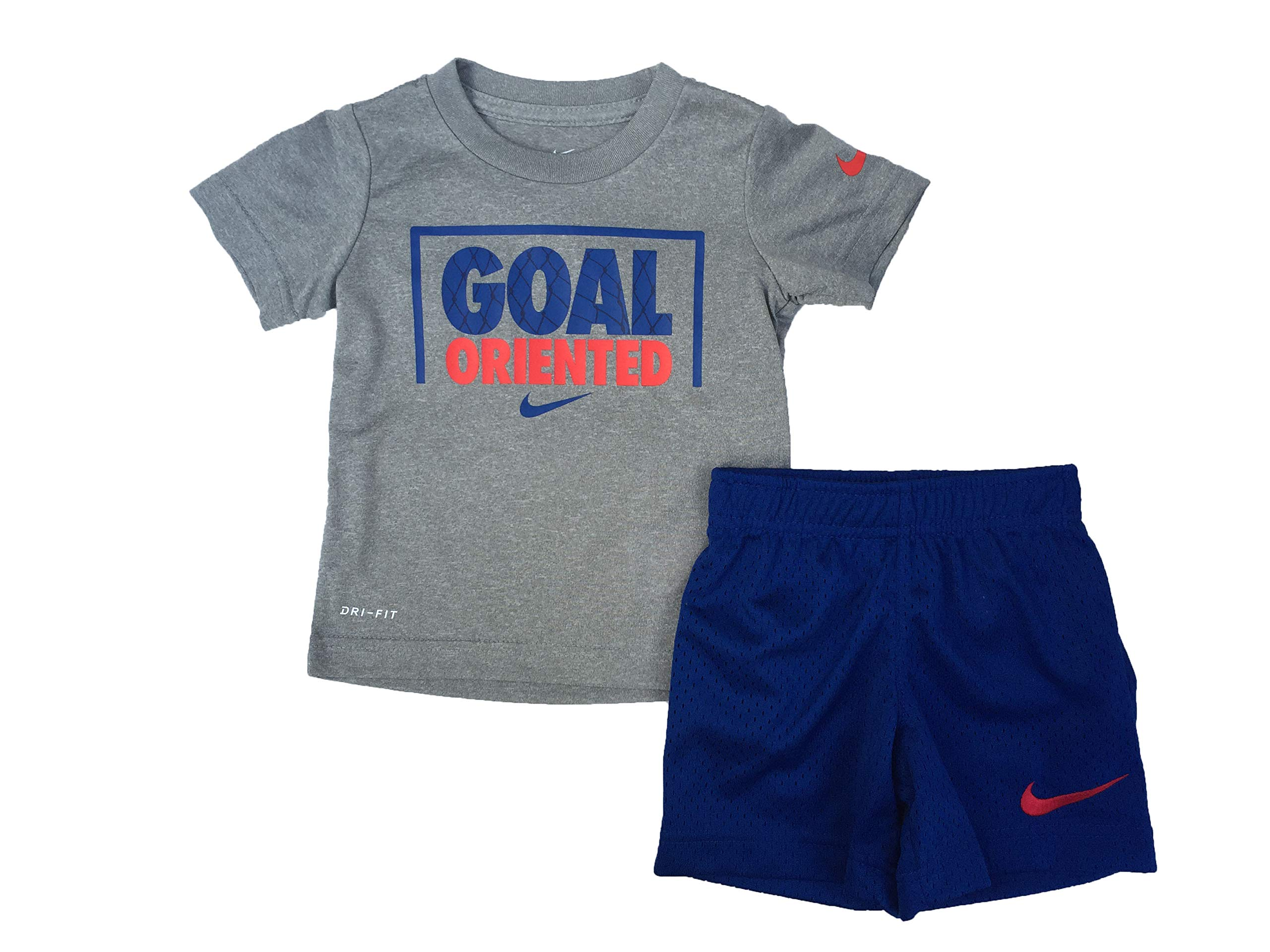 Nike Boy`s Dri-Fit T-Shirt & Shorts 2 Piece Set (Indigo Force(76E497-C3M)/Red, 4T)