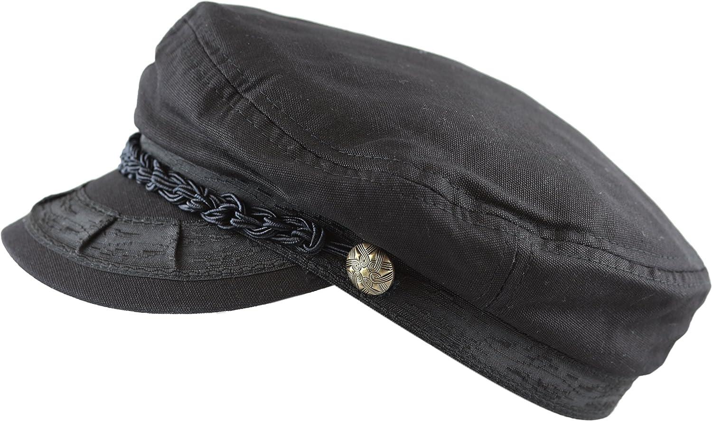 The Hat Depot Winter Unisex Wool /& Faux Leather Greek Fisherman Sailor Fiddler Driver Hat Flat Cap