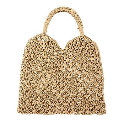 Faleto Damen Mädchen Netz Stroh geflochtene Tasche