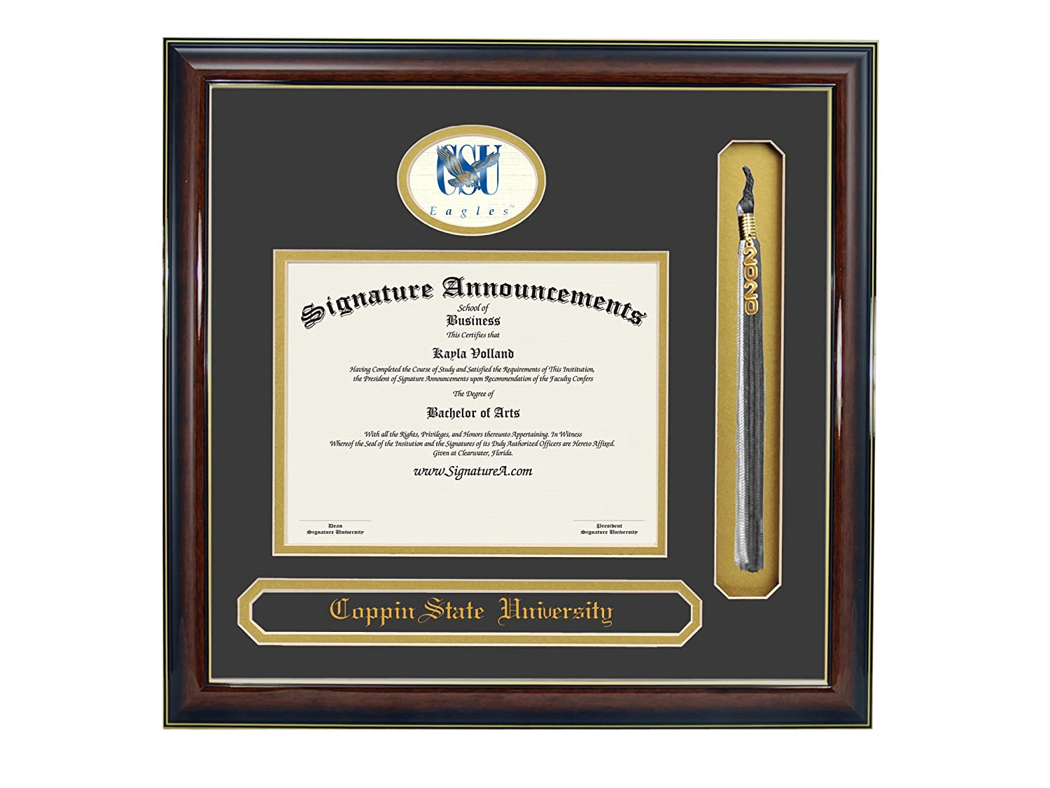 Name /& Tassel Graduation Diploma Frame 16 x 16 Gold Accent Gloss Mahogany Signature Announcements Coppin-State-University Undergraduate Sculpted Foil Seal