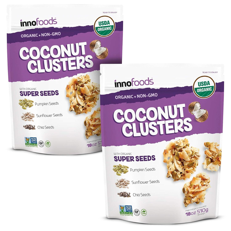 InnoFoods Coconut Clusters 18oz (2pk) - Organic & Grain-Free Granola Snacks - Coconut, Pumpkin, Chia & Sunflower Seeds Crumbles - Healthy, Non-GMO, Vegan Bites - Gluten-Free Topping For Yogurt, Snacks, and Natural Recipes
