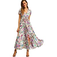 fed9ac170ed Milumia Women Floral Print Button Up Split Flowy Party Maxi Dress
