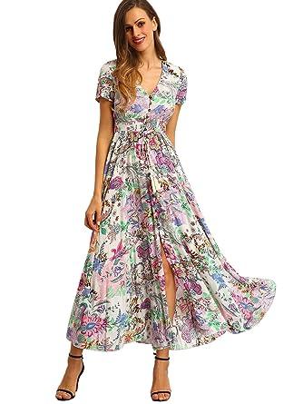 3390c9f11b51 Milumia Women s Button Up Split Floral Print Flowy Party Maxi Dress X-Small  Multicoloured