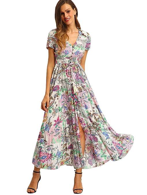 Milumia Women's Button Up Split Floral Print Flowy Party Maxi Dress Large Multicoloured