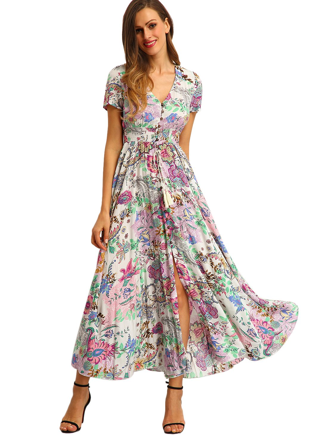 Milumia Women's Button Up Split Floral Print Flowy Party Maxi Dress Medium Pink