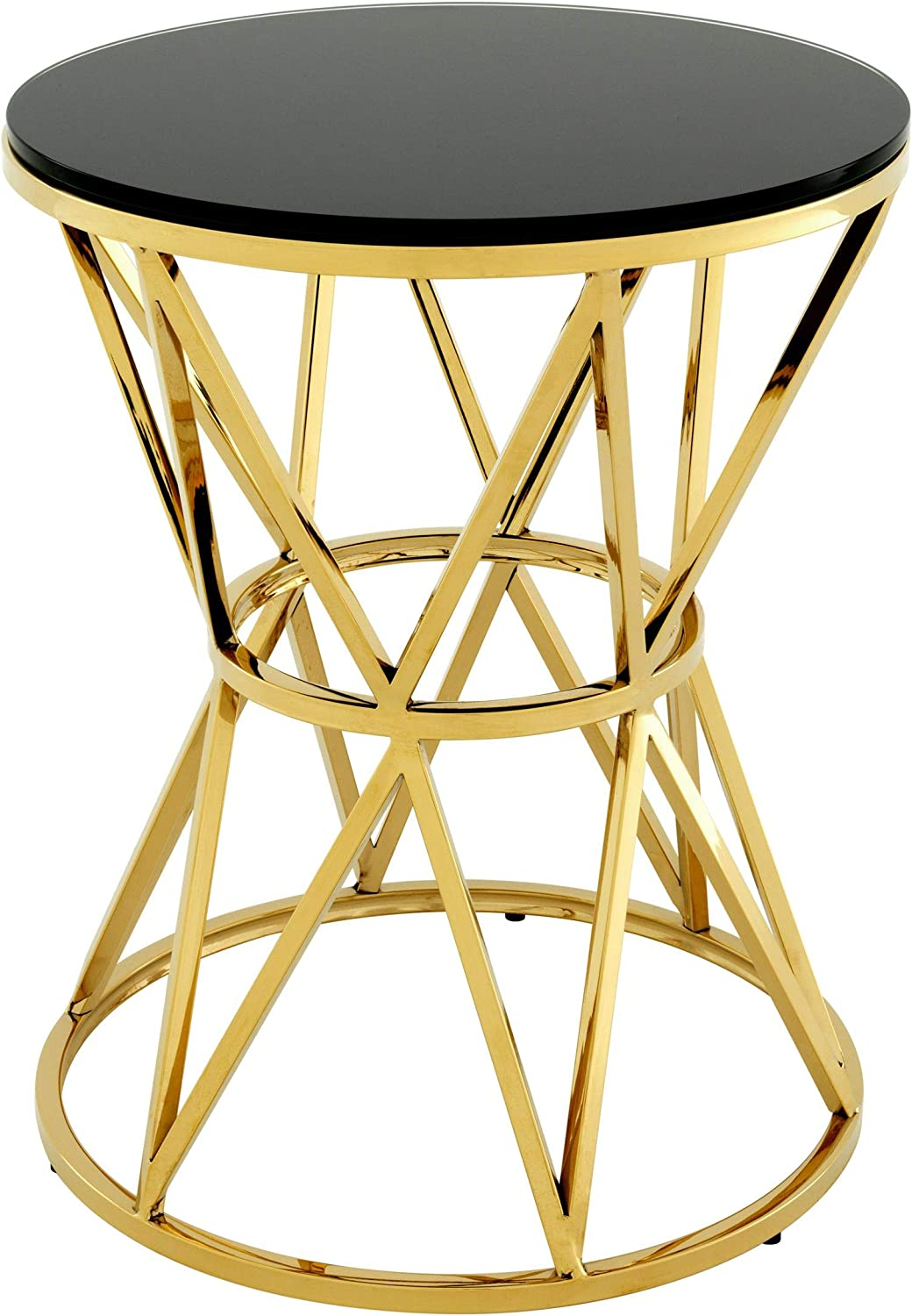 Antique Gold Metal Finish Glass Top Nightstand Accent Table End Bed Side Elegant