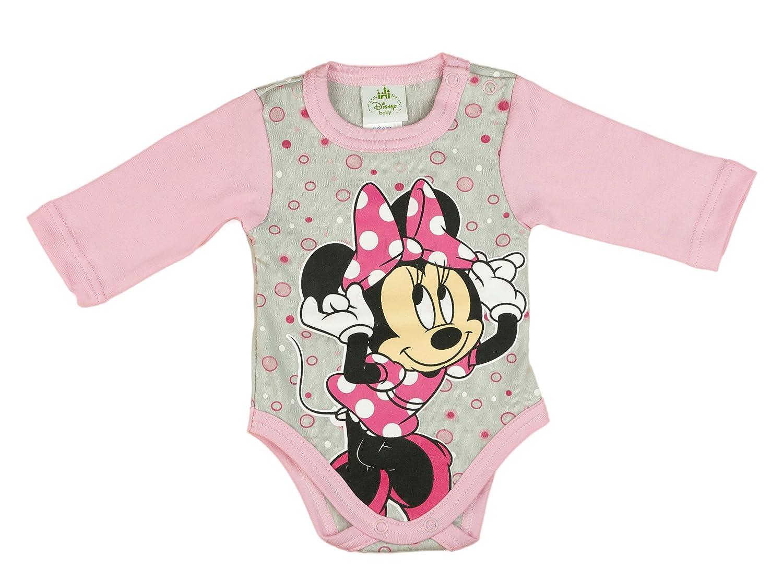 Disney Mädchen BABY-BODY, Baumwolle, Spiel-Anzug mit Druck-Knöpfen, BABY-SCHLAFANZUG lang-arm, Minnie Mouse Motiv, rosa oder grau, mit Bubbles, GRÖSSE 50, 56, 62, 68, 74, 80, 86 Disney Mädchen BABY-BODY GRÖSSE 50