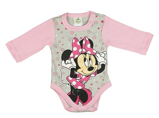 62d85dfb4b Disney Mädchen BABY-BODY, Baumwolle, Spiel-Anzug mit Druck-Knöpfen, BABY-SCHLAFANZUG  lang-arm, Minnie Mouse Motiv, rosa oder grau, mit Bubbles, GRÖSSE 50, ...