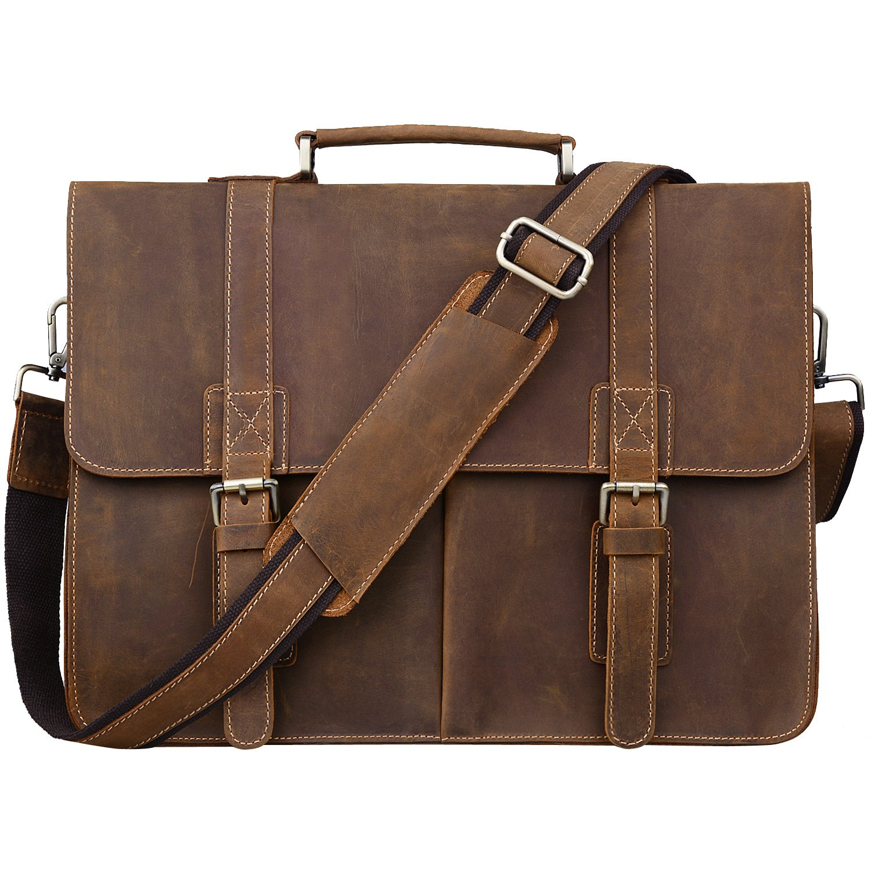 Jack&Chris Men Leather Laptop Bag Briefcase Messenger Bag, N1115