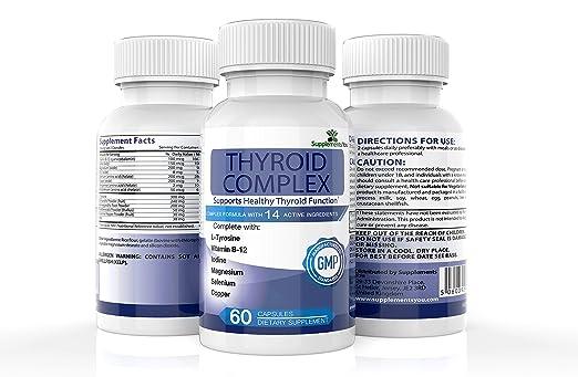 COMPLEJO TIROIDEO. 60 Suplementos Premium con 14 INGREDIENTES ACTIVOS, incluye L-Tirosina, yodo, Vitamina B12, Selenio, Alga Marina y Magnesio ayuda tanto ...