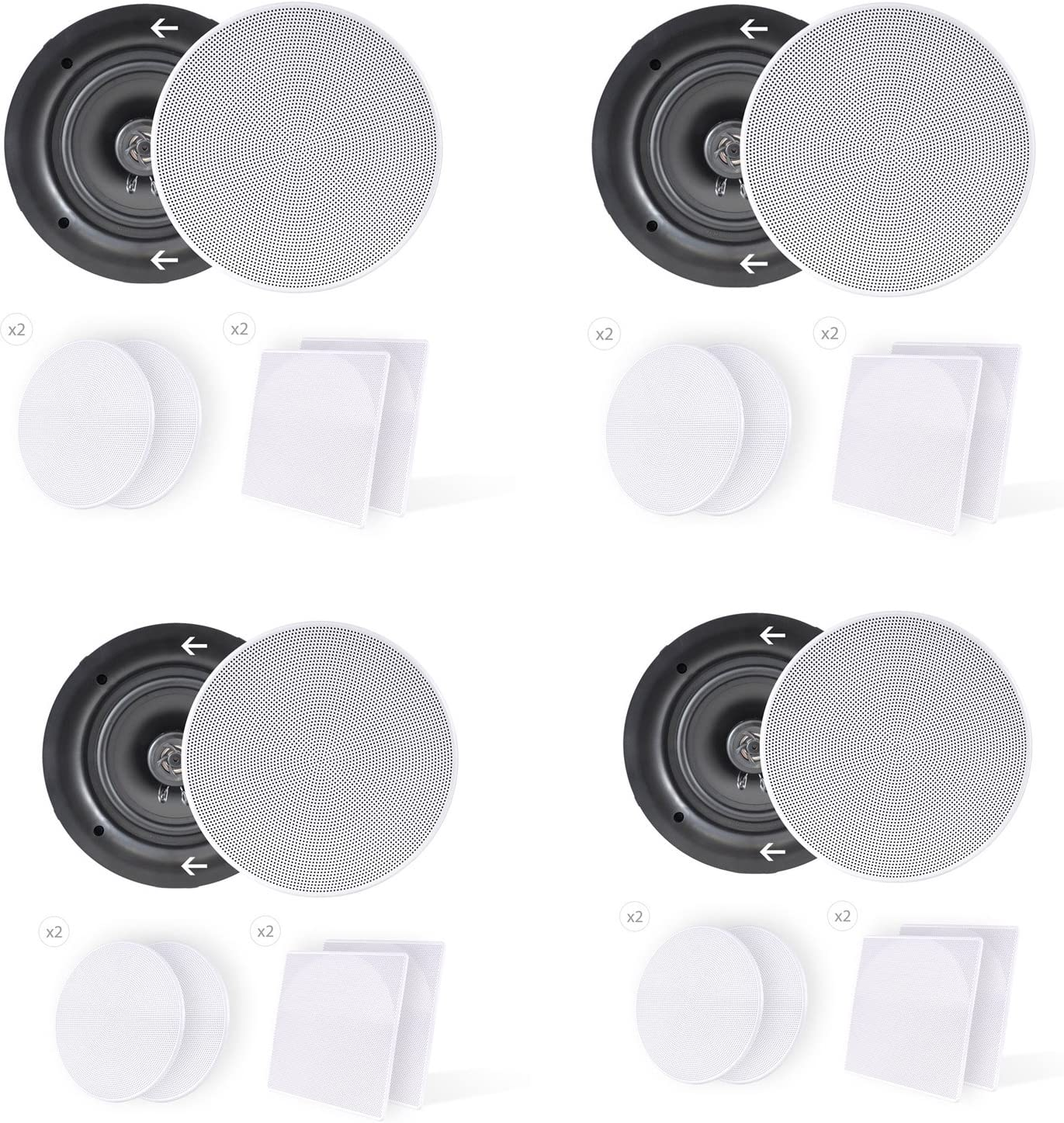 """8) Pyle PDIC66 6.5"""" 200W 2 Way Dual In-Wall/Ceiling Home Audio Speakers Stereo"""