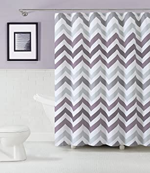 Amazon.com: GoodGram® Chevron Cotton Fabric Shower Curtain ...