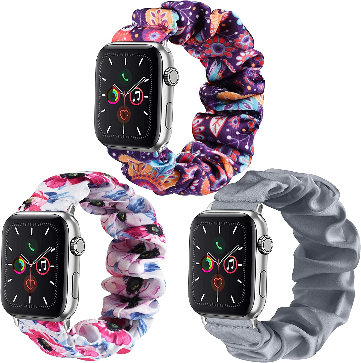 Mugust 3 Pack Compatible for Apple Watch Bands 38mm 40mm Scrunchies Elastic Watch Bands Women Bracelet Strap for iWatch Series 6 5 4 3 SE 2 1 (38mm/40mm M/L, Grey+Purple Flower+Pink Flower)