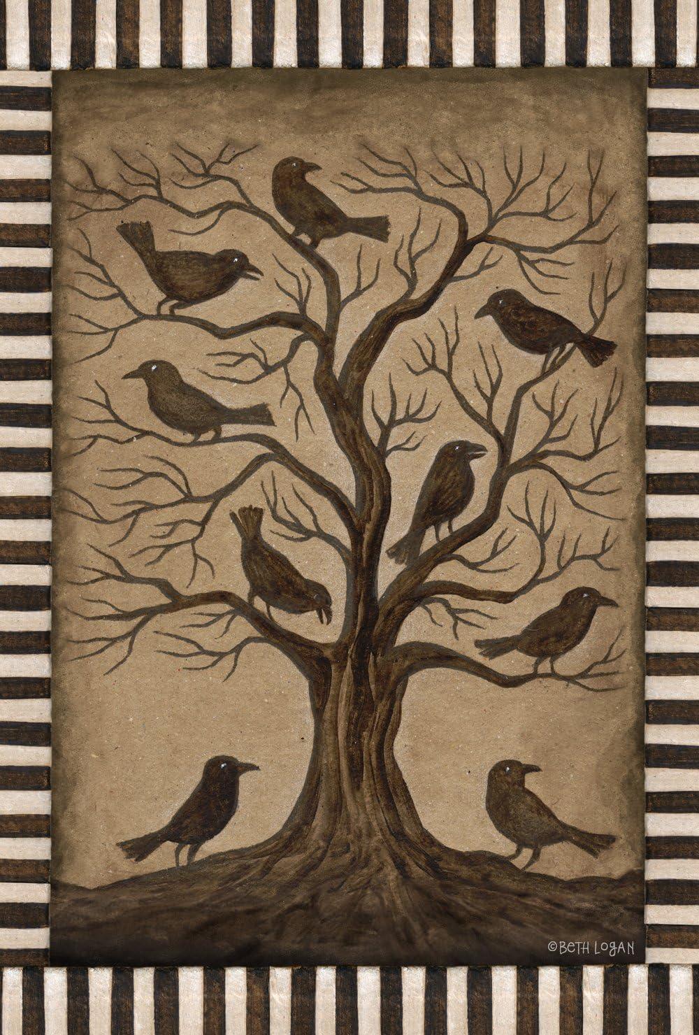 Toland Home Garden Tree Ravens 12.5 x 18 Inch Decorative Rustic Black Bird Spooky Halloween Garden Flag