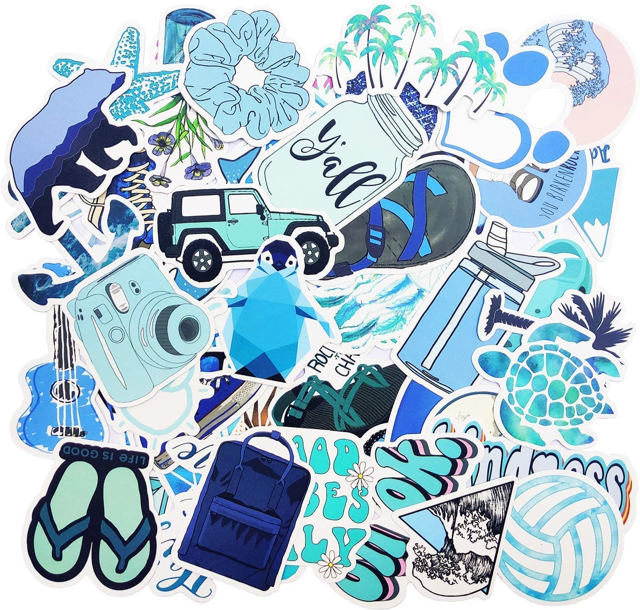 Blue Stickers for Water Bottle Trendy Teen Girls Laptop Hydroflasks Phone Car Bumper Computer Skateboard Decals Beach Theme with Turtle Pineapple Coconut Tree Design- 50pcs