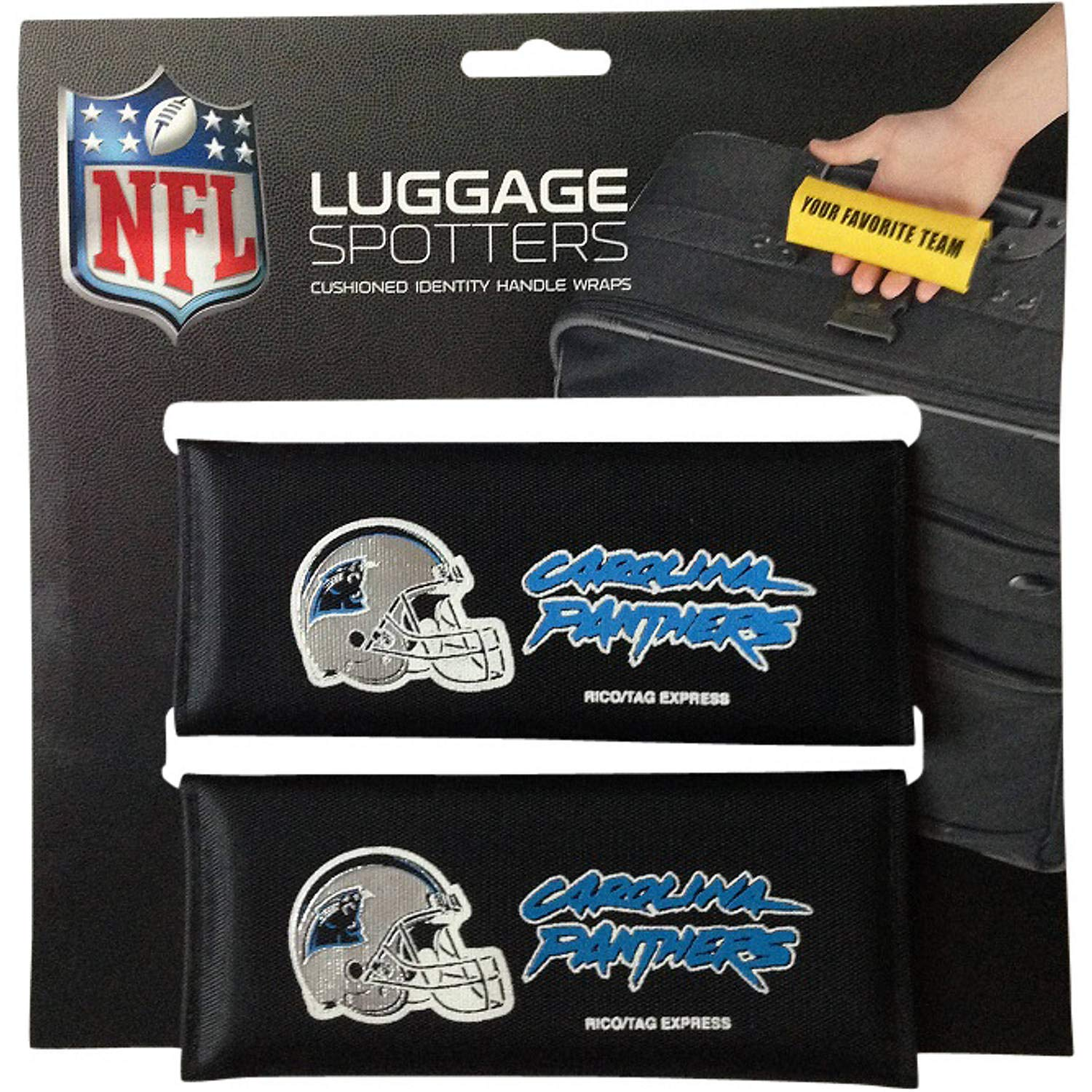 PANTHERS Luggage Spotter Suitcase Handle Wrap Bag Tag Locator with I.D. Pocket (2-PK) - ALMOST GONE! by Luggage Spotter