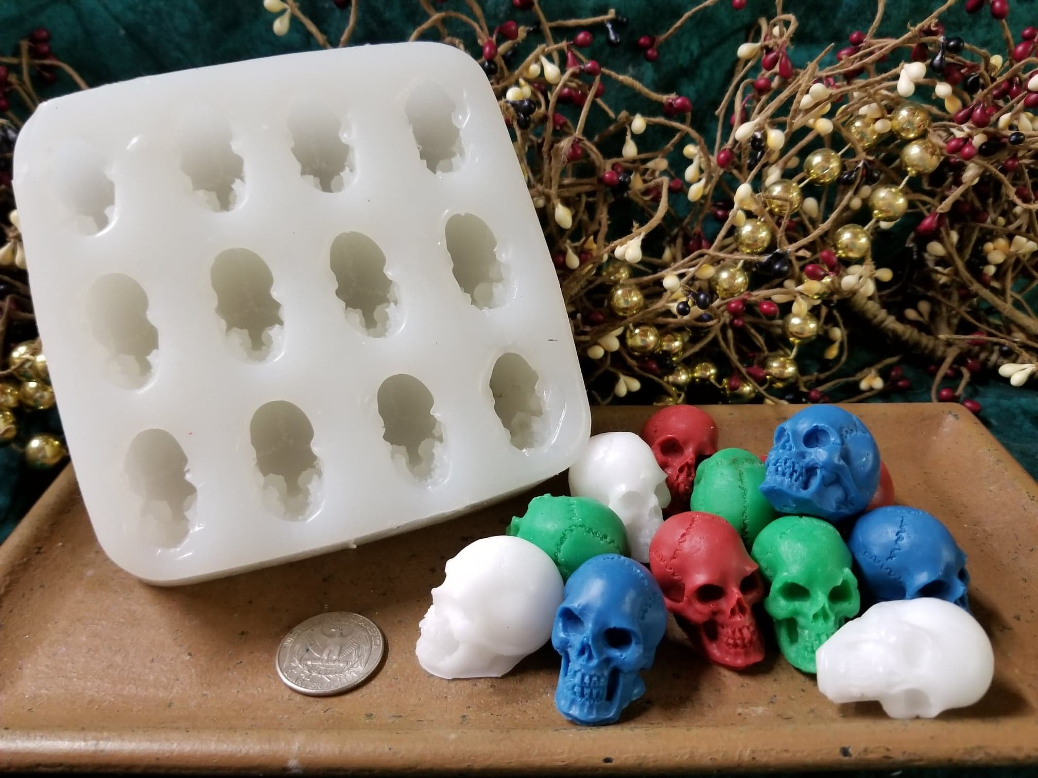 Skull Small Embed 12 Cavity Silicone Mold 5532 Food-Soap-Candle-Resin-Flexible