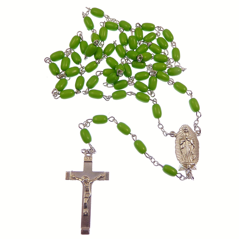 Cattolica lunghezza Le nostre Signora di Guadalupe verde rosari catena in argento 58cm Lunghezza R. Heaven