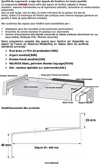 Tablette de fenêtre Aluminium Brut filmé Déport=150 mm|Longueur=700 mm