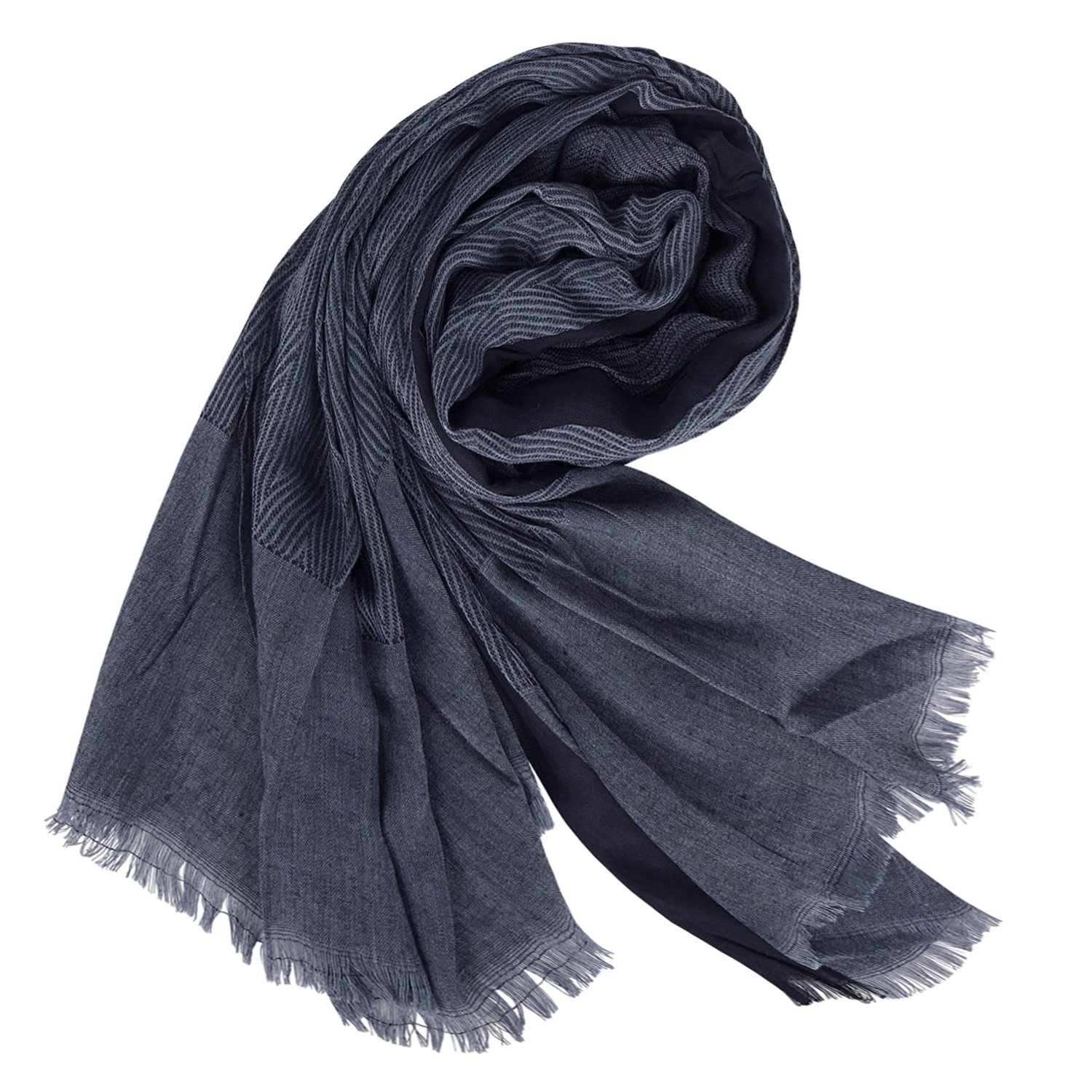 GERINLY Men Scarves Twill Cotton-Linen Long Winter Scarf (NavyBlue) by GERINLY (Image #3)