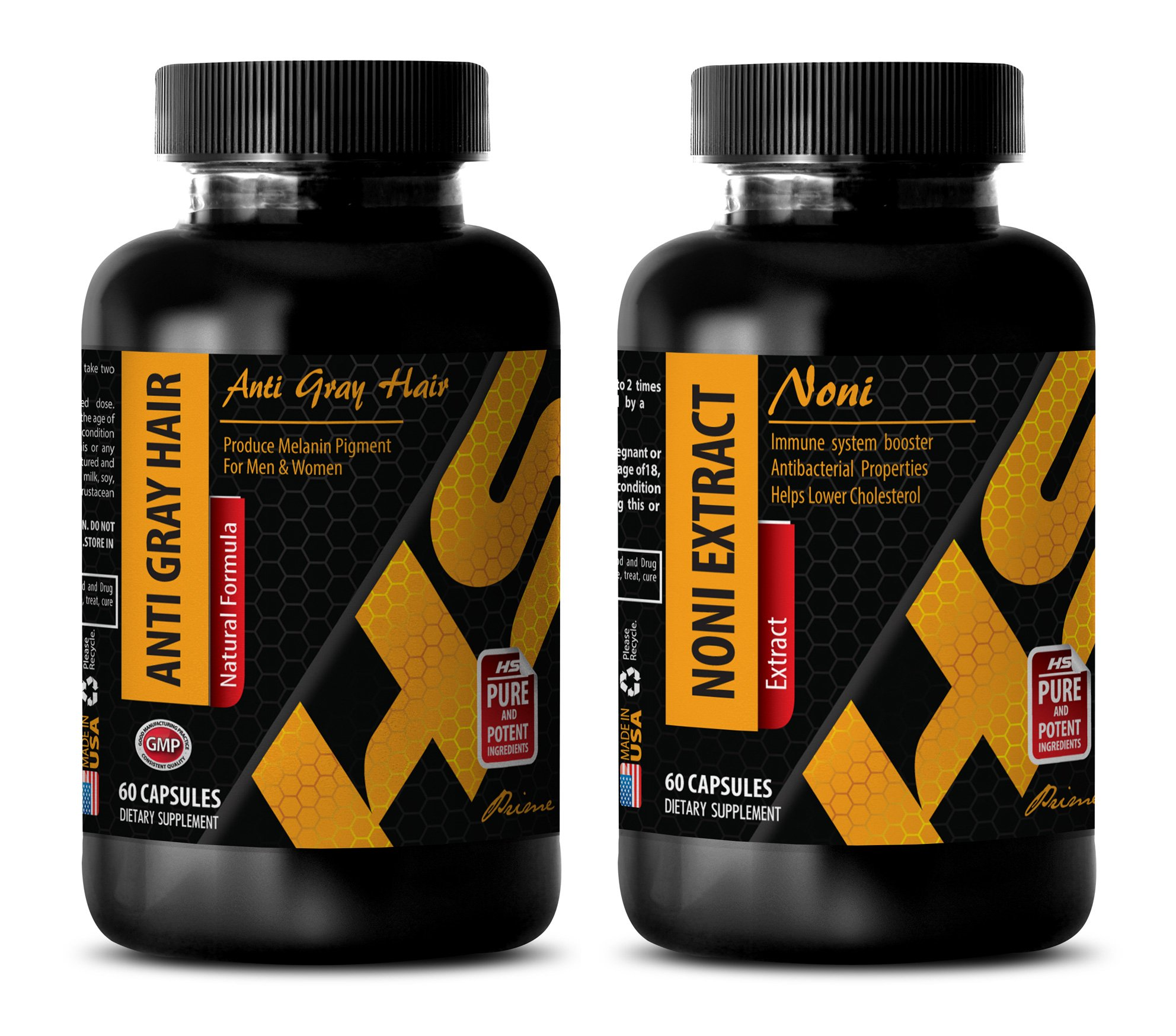 mmune system vitamins - ANTI GRAY HAIR – NONI EXTRACT - zinc hair - COMBO - 2 Bottles