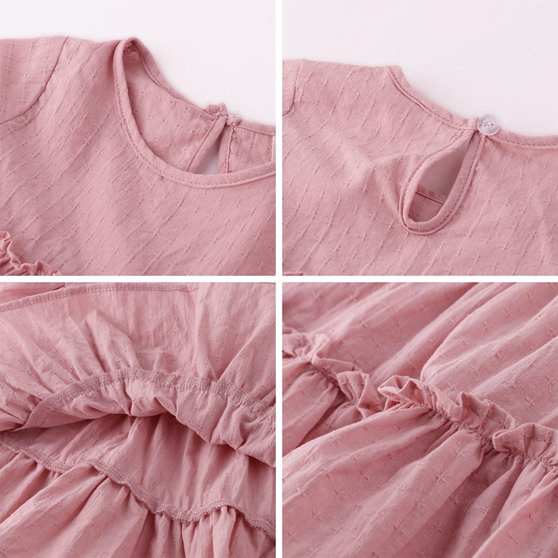 Baby Girls Short Sleeve Ruffle Cotton T-Shirt Dress Tops