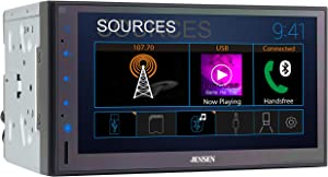 Jensen CMR682 6.8 inch Double DIN Bluetooth Car Stereo Digital Media Receiver with AM/FM/MP3/USB/Front & Rear Camera Support & Push to Talk Button
