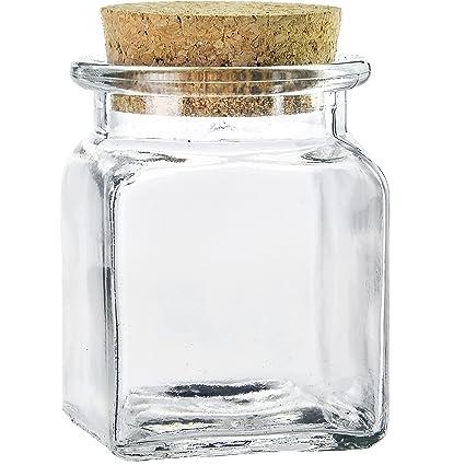 4888c306ed82 Amazon.com: Couronne Co Square Glass Jar with Cork, 6154-C, 8.5 ...