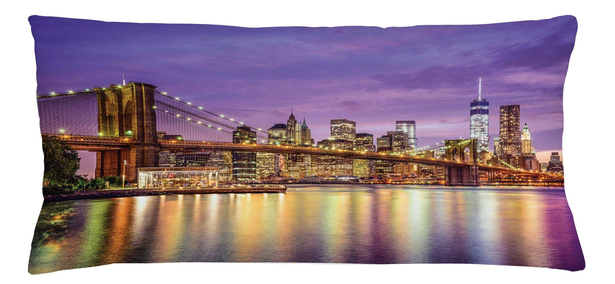 Ambesonne New York Throw Pillow Cushion Cover, NYC Exquisite Skyline Manhattan Broadway Old Neighborhood Tourist Country Print, Decorative Square Accent Pillow Case, 36 X 16 Inches, Purple Gold