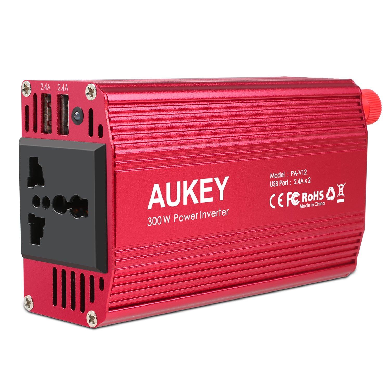 1 Steckdose und Zigarettenanz/ünder Stecker f/ür Smartphones und kleine Haushaltsger/äte im Auto AUKEY Wechselrichter 300W 12V auf 230V mit 2 USB Ports