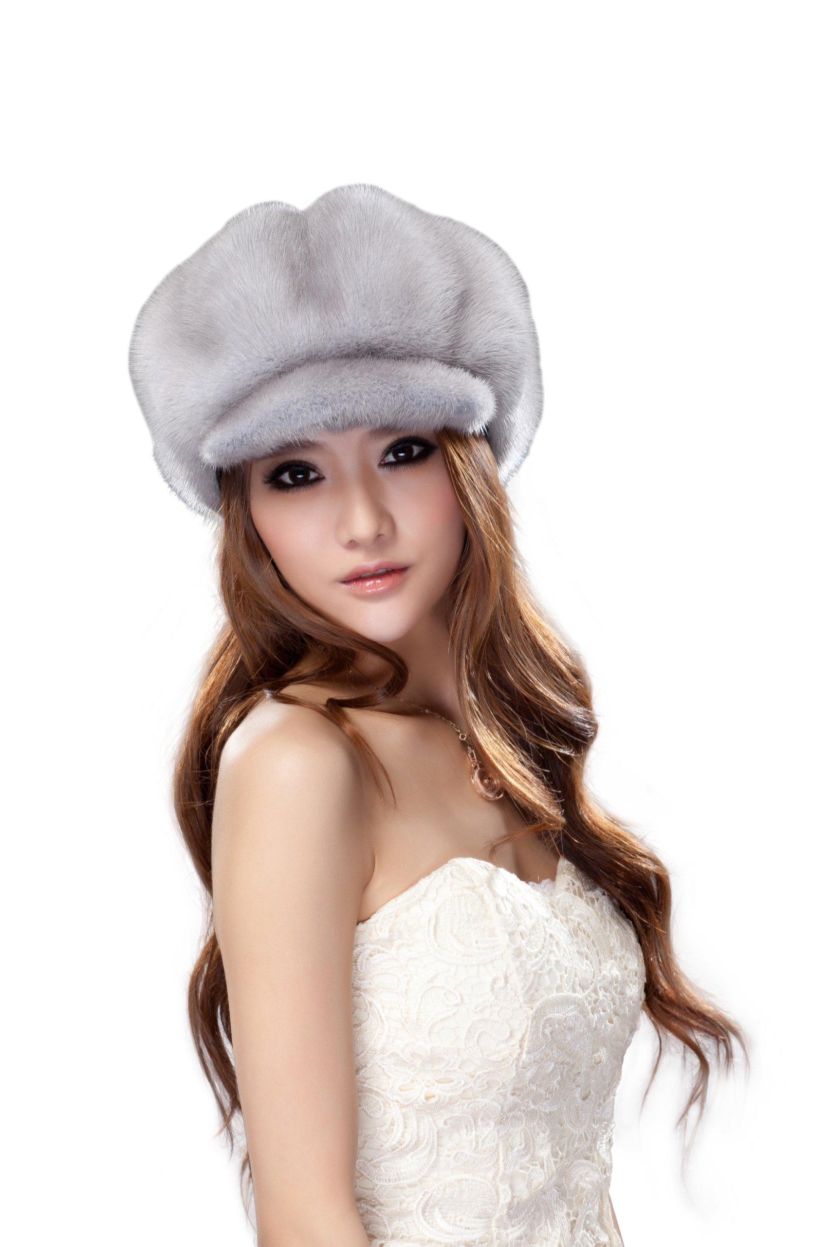 URSFUR Women's Mink Fur Newsboy Cap Hunting Cap Hats (Sapphire)