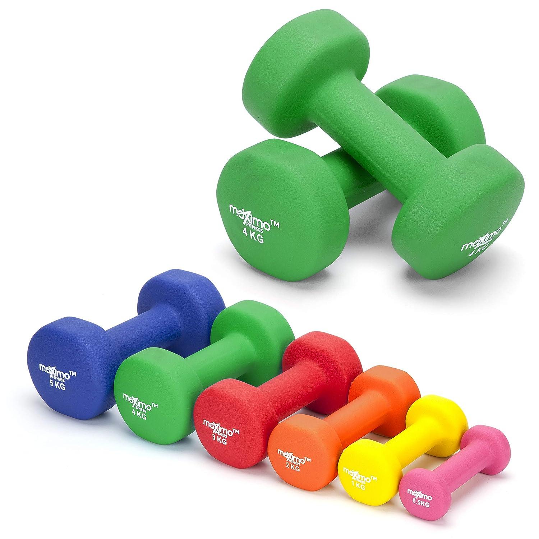 Maximo Fitness Mancuernas de Neopreno (Par) - 2 x 4kg - Pesas de Mano Perfectas para el Desarrollo de Fuerza, Tonificación Muscular, Gimnasia en Casa y ...