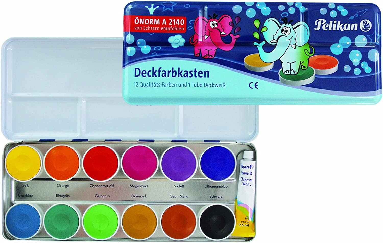 12 Farben 1 Tube Deckwei/ß Pelikan 720250 Deckfarbkasten K12 2 Deckfarbkasten