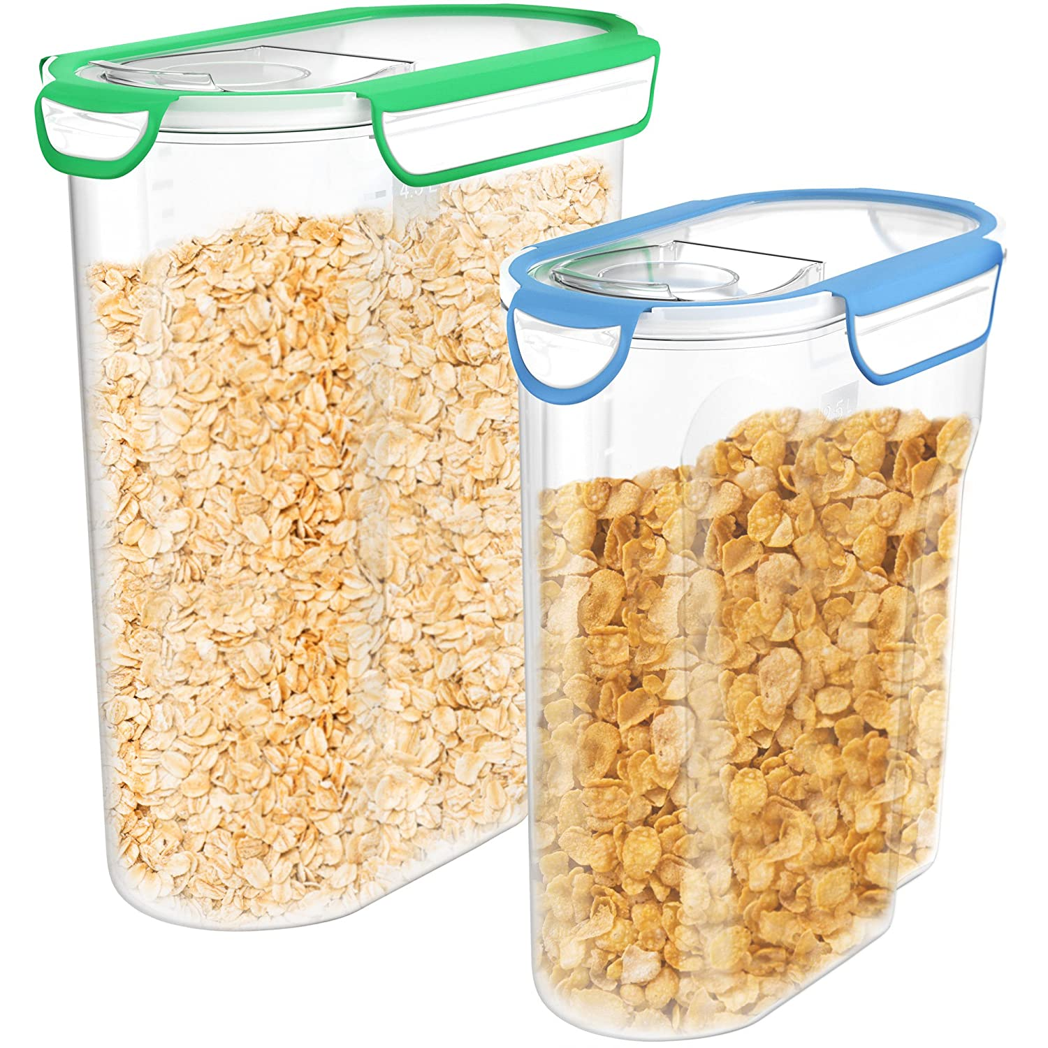 Vremi Plastic Cereal Containers Storage Set with Lids - 2 Pack BPA Free 3L and 5 Liter Dry Food Container Set with Pour Spout and Airtight Silicone Seal Holds 12 or 21 Cups of Snacks Pasta or Pet Food VRM020307N
