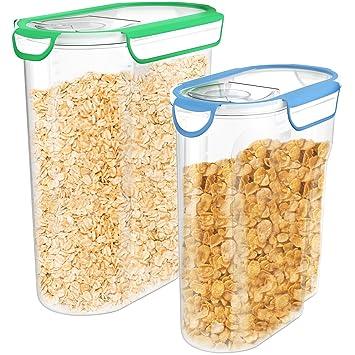 vremi plástico cereales Set de almacenamiento de contenedores con tapa – 2 unidades sin BPA 3L